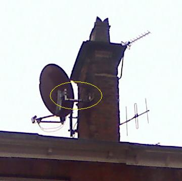 big dish on small  bracket on chimney