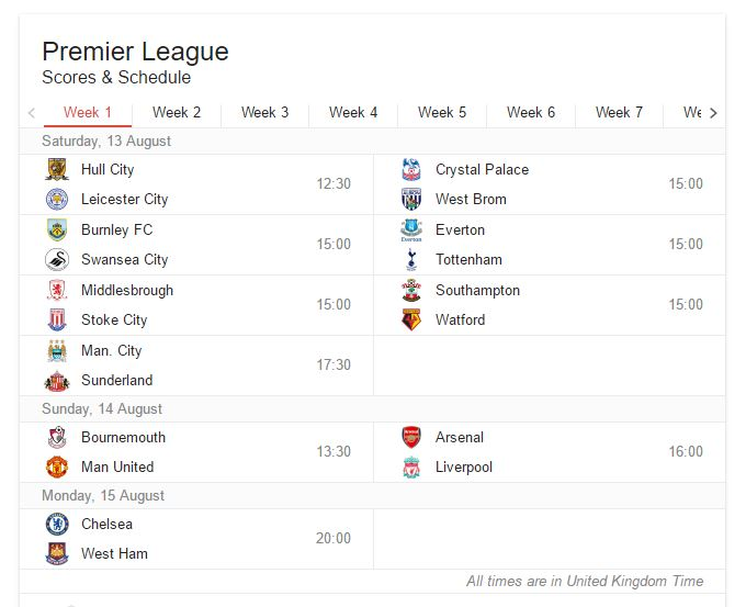 EPL WEEK 1 13th 14th 15th AUGUST 2016